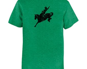 Rodeo Rider Tshirt - Kids Horse Shirt - Tee - Youth Boy / Super Soft Kids Tee - PolyCotton blend - Multiple Colors