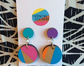 Hand painted upcycled dangle earrings
