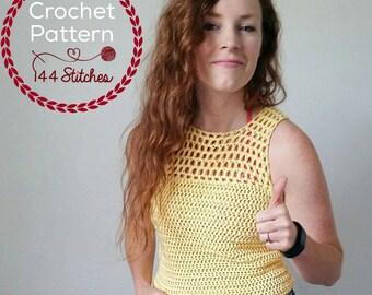 Catalina Crochet Tank Top Pattern, Sleeveless Tee Crochet Pattern, Mesh Crochet Top Pattern Instant PDF Download