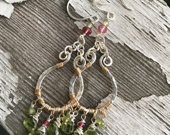Peridot and pink tourmaline vessel earrings in sterling silver