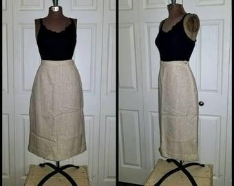 Meringue ... Vintage 50s 60s skirt / pencil sheath wiggle / rockabilly mad men / cream ivory wool ....  S M / waist 28