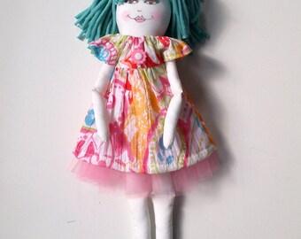 Poupée de chiffon  - Fabric doll handmade- unique #37