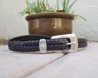Vintage Womens Large Size 34 Brighton Belt Thin Silver and Brown Boho Concho Belt Hippie Aztec Hipster Biker Moto Classic Designer Belt