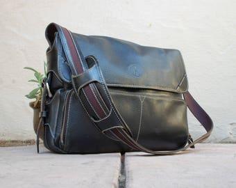 Classic Cole Haan Briefcase Attache Laptop Portfolio Black Leather Tote Messenger Bag Crossbody Shoulder Computer Brief Bag Work Organizer