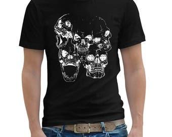 kulls T Shirt , Day Of The Dead , Goth Shirt , Mens T Shirt , Black T Shirt , American Apparel TShirt , Graphic T Shirt , Art T-shirt