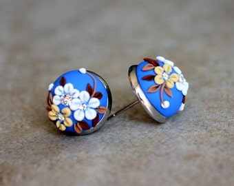Lovely Polymer Clay Applique Statement Stud Earrings in Blue and White