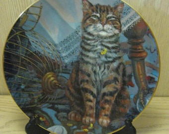 "Collector Plates Lowell Davis ""Flew the Coop"" Porcelain Collector Plate Orange Tabby Cat Schmid 1982"