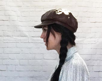 Vintage 90s Does 70s Newsboy Apple Cap Brim Slouchy Ascot Hat Beanie Tam Brown Faux Leather