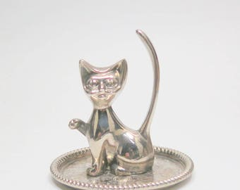 Vintage Silver Plated Cat Ring Holder, Silver Cat Ring Holder, Cat Jewelry Holder, Silver Vanity Decor, Silver Plate Cat Ring Tray Dish