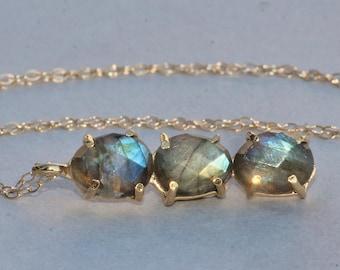 STUNNING Labradorite Gemstone Bar Necklace,Faceted Vertical Bar Necklace,Gold Filled Gemstone Pendant,Oval Teardrop,Minimalist,Layering