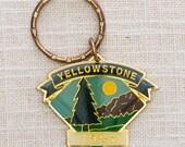 Yellowstone 1991 Vintage Keychain Unique Shape Wyoming Montana Key FOB Brass Key Chain 7KC
