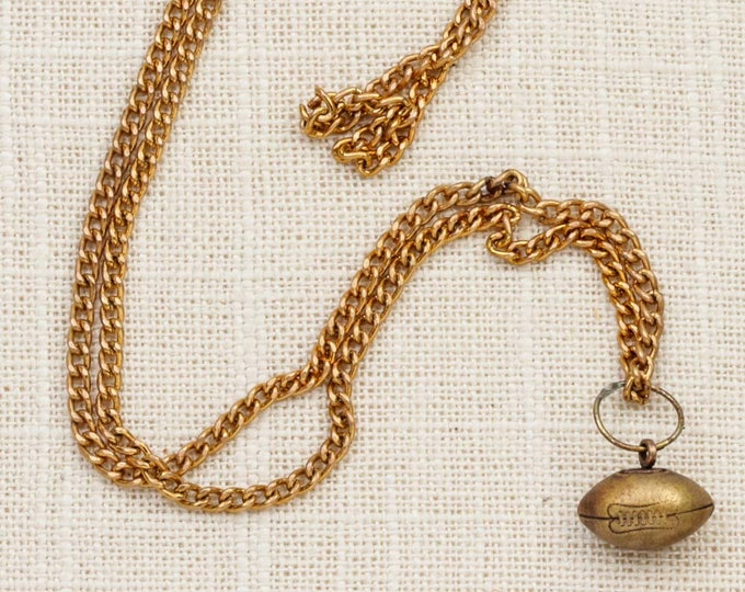 Football Charm Necklace Vintage Gold Chain Costume Jewelry 7L