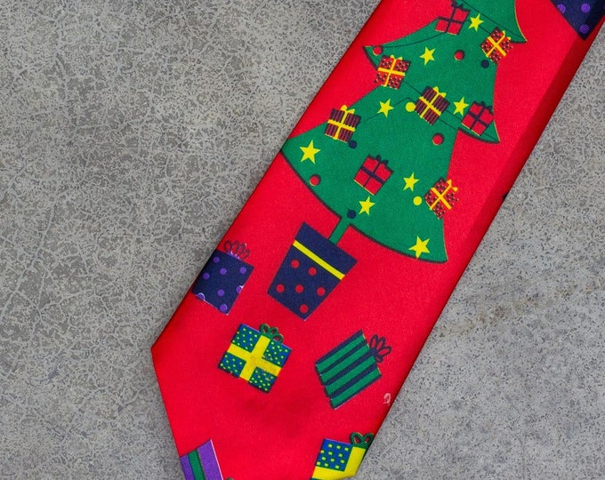 Jingle Bells Musical Vintage Christmas Neck Tie (Plays Music!) Christmas Tree Presents | Ugly Xmas Tie 7CJ