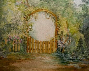 Garden Gate Hand Painted Original OOAK Framed Garden Painting Wisteria Archway Into Garden