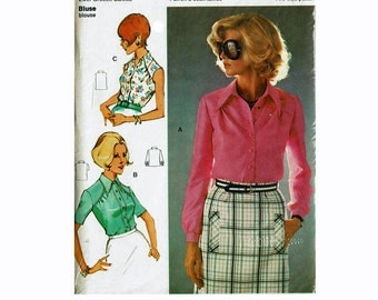 70s Blouse with shoulder yokes Size 44 & 46 bust 39 41 Uncut Vintage Sewing Pattern Burda 70112