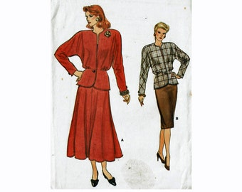 Peplum Jacket and Straight or Flared Skirt 1980s Easy Sewing Pattern Very Easy Very Vogue 9796 Sizes 8-10-12 Bust 31 1/2-32 1/2-34