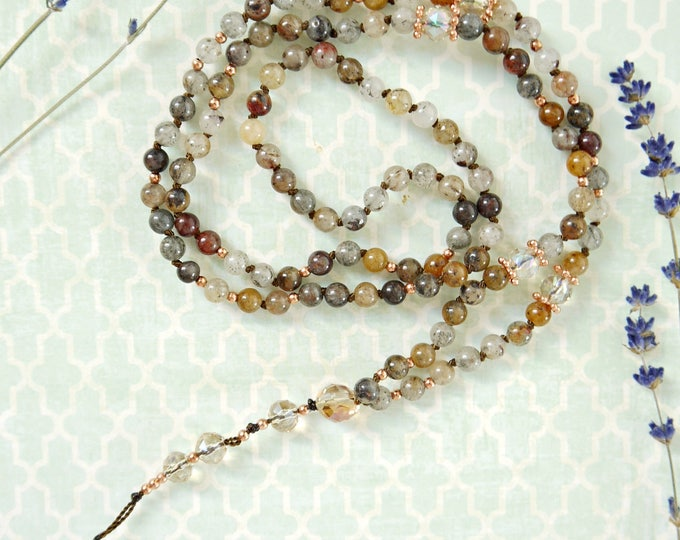 handknotted 6mm lodolithe tassel necklace, 108 gemstone mala beads, mala necklace, bohemian style necklace, earth colors necklace, gemstone