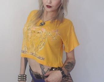 90s vintage cropped kitty cat tee shirt