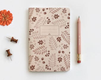 Fall Leaves Gratitude Journal & Pencil Set - Illustrated Autumn Brown Floral Recycled Notebook, 3 Sizes Mini Medium Midori