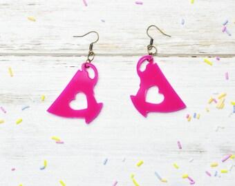 Tea Earrings in Hot Pink | Nickel Free Dangle Tea Cup Earrings | Laser Cut Statement Jewellery | Bright Pink Tea Lover Gift