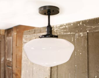 Schoolhouse Style Opal Semiflush Fixture - 12 Inch