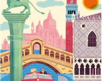 Venice poster, Venice wall art, Venice print, Venice art print, Poster, Venice skyline, Italy art, Wall decor, Gift, Home decor