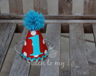 First Birthday HAT Cat in the Hat Inspired Party Thing 1 Thing 2 1st Birthday Outfit Toddler Baby Boy or Girl Dr. Seuss Inspired
