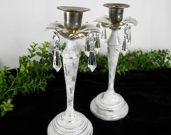 SALE 2 Candlesticks White Cottage Style- Silver Plated and Chandelier glass crystals - Romantic - Vintage Wedding - One of a Kind Gift