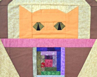 Log Cabin Cat Paper Pieced Quilt Block Pattern