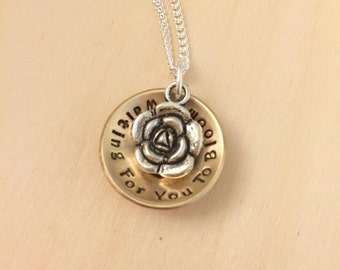 Infertility Jewelry, TTC, Pregnancy, Waiting for You to Bloom, Fertility Jewelry, Fertility Necklace, Infertility Necklace, Flower Necklace