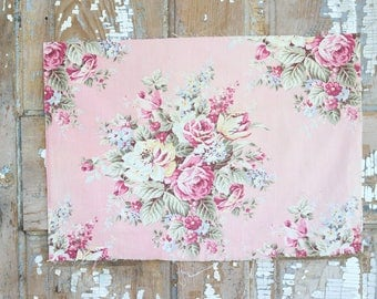 Soft Muted Pink Cabbage Roses Floral Pattern 30s 40s Vintage  Fabric Decorative Throw Pillow Cushion