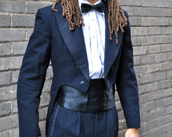 1960's Vintage 40 Long Two Piece Dark-Blue Gentry Tuxedo Matching Tails Jacket and Pants