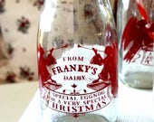 Christmas Dairy Eggnog bottles, set of six. Vintage from the 1950's, marked Made in England . Farm bottled from Franky's Dairy. Rare find!