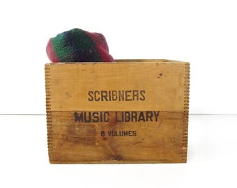 Vintage Wood Crate / Scribners Music Library Wooden Crate Box / Rustic Storage