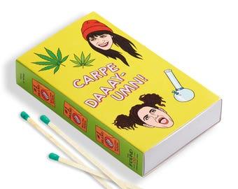 Broad City Matchbox, Hand Illustration, Gift, Stocking Stuffer, Matches, Pop Culture, Weed, 420, Abbi, Ilana (Item 615)