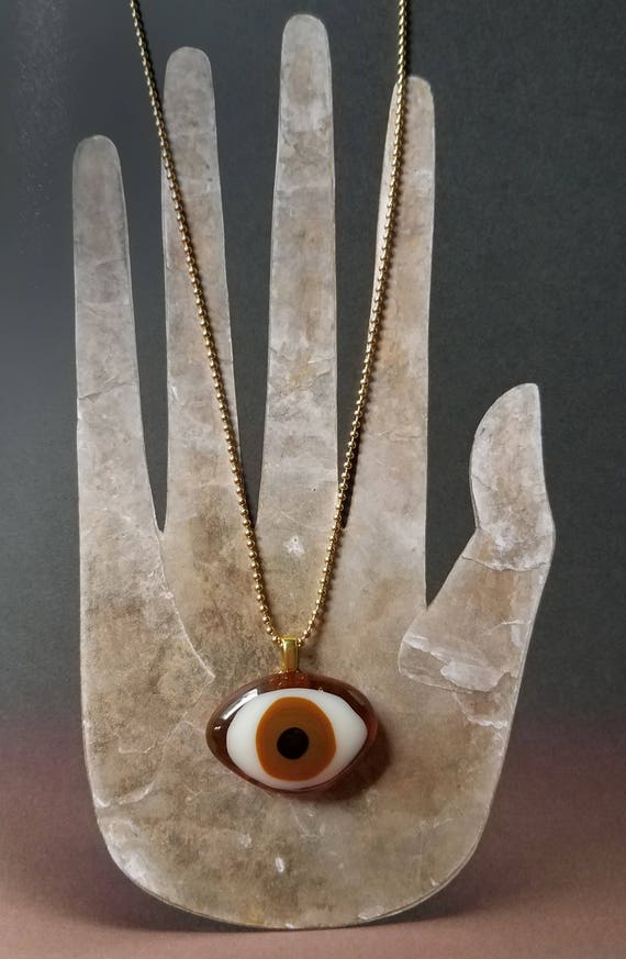 Glass Eye Necklace - Brown on Gold