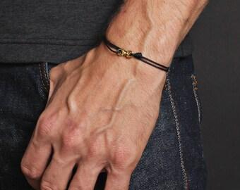 Men's Bracelet - Minimalist black bracelet for men - thin black cord and gold bracelet for men - Bracelets for Men - Men's Jewelry - For him