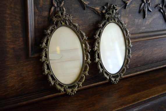 Two Vintage Italian Brass Ornate Frames - Mid Century, Hollywood Regency, Baroque