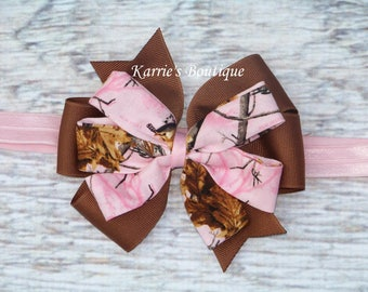 Camo Hair Bow or Headband / Pink Realtree & Brown / Camo Princess / Pageant / Photo Prop / Newborn / Infant / Baby / Girl/ Toddler/ Boutique