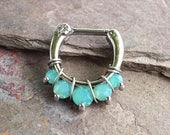 Septum Ring Septum Clicker Daith Piercing 16 Gauge Mint Green Opalite Crystal