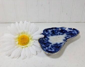 Flow Blue Bone Plate Maker's Mark W in Diamond Shape Made in England Flow Blue China Bone Bowl Blue & White Pottery Bone Dish Porcelain Bowl