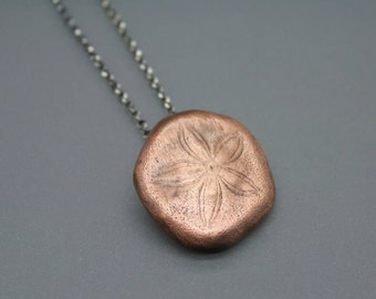 Copper Sand Dollar, Sand Dollar Jewelry, Sanddollar, Beach Jewelry, Beach Wedding, Bridesmaid Jewelry, Copper Beach Pendant, Wedding