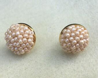 Pearl Gold Bead Crochet Earrings