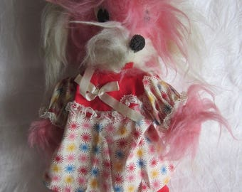 Vintage Pink Stuffed Dog Shaggy Plush Toy Esther Miller Doll Creations Brooklyn NY