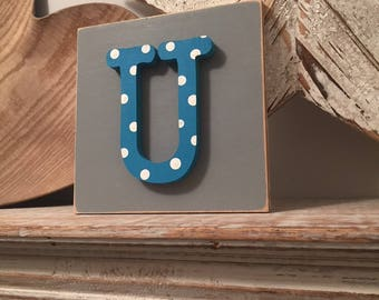 Wooden Letter Blocks, 3D letter, Signs, Letter U, 15cm square, all letters available, rustic finish