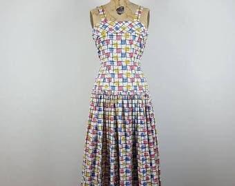 CLEARANCE SALE checkers | vtg 1950s novelty print maxi dress | vintage 60s long dress | sun dress | medium/m