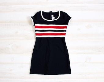 Vintage 90s Tennis Dress, 1990s Sporty Dress, Striped, Mini, Black