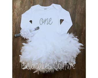 Winter Onederland 1st Birthday, 1st Birthday Girl Outfit, Snowflake Birthday, White and Silver Birthday Outfit, Winter Cake Smash Outfit