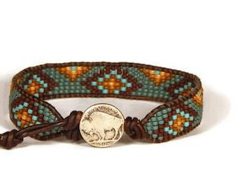 Bead Loom Bracelet Leather Wrap Bracelet Buffalo Nickel  Blue Turquoise Bracelet Boho Bracelet Bohemian Jewelry