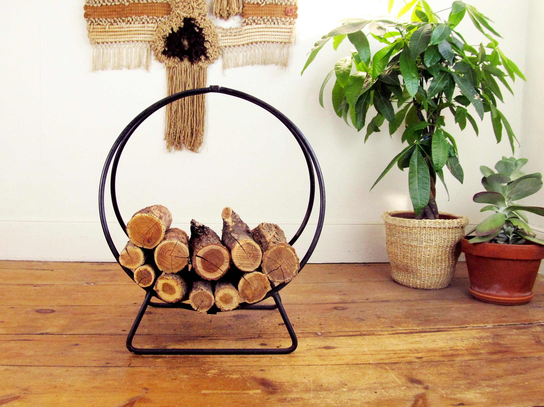 log holdermid century modern log holdersteel log